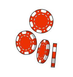 set of falling red gambling casino poker chips vector image