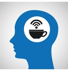 silhouette head cup coffee wifi icon vector image