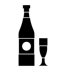 Bottle and glass icon simple style vector image