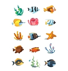 cartoon aquarium decor objects underwater vector image