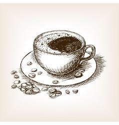 Cup of coffee hand drawn sketch vector image vector image