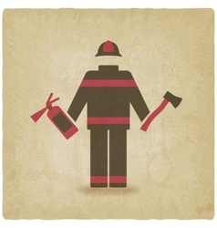 Fireman with extinguisher and axe old background vector image vector image