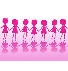 Row of women holding hands vector image vector image
