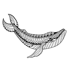 Zentangle whale for adult anti stress vector