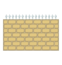 Brick wall fence icon cartoon style vector image