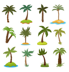 cartoon palm trees on tropical exotic islands vector image vector image