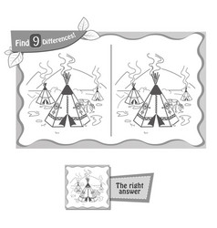 find 9 differences game wigwam vector image