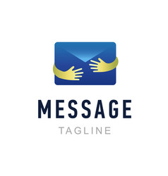 message logo template hand holding envelope mail vector image vector image