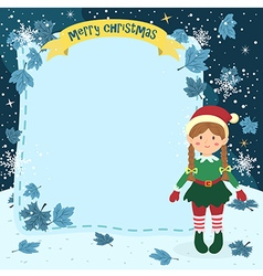 Notes Christmas Elf Braid Girl vector image vector image