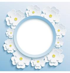 Round blue frame with 3d sakura vector image