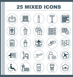 traveling icons set collection of information vector image vector image