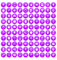 100 patisserie icons set purple vector