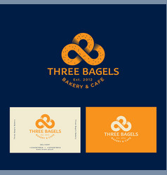 3 bagels logo bakery and pastry emblem vector