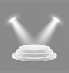 3d pedestal with spotlights isolated object vector