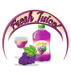 A fresh juice label with grapes vector image