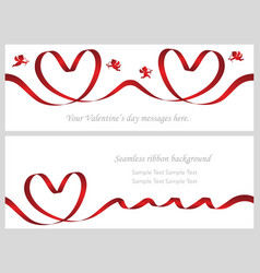 a set of two seamless valentine cards vector image