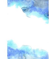 Abstract fresh blue and indigo watercolor border vector