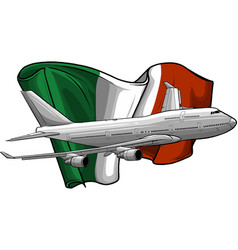 airplane with italian flag vector image
