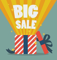 Big sale with a Christmas gift box vector image