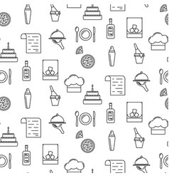 Bistro line icon seamless pattern vector