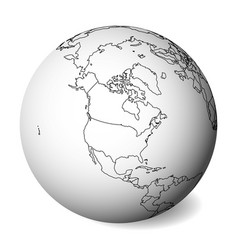 blank political map of north america 3d earth vector image