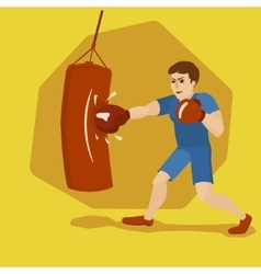Boxer training with punching bag cartoon vector