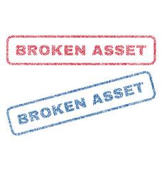 Broken asset textile stamps vector