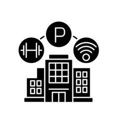 Building amenities black glyph icon vector