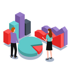 business graphics and charts isometric pie graph vector image