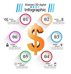 business infographics dollar money icon vector image
