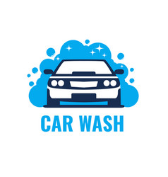 Car wash logo on light background clean car in vector