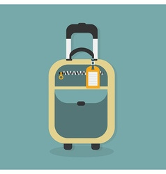 Carry on luggage icon with hanging travel tag vector