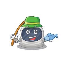 Cartoon design astronaut helmet while fishing vector