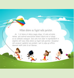 cartoon kids flying kites vector image