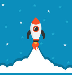cartoon rocket space ship icon in flat style vector image