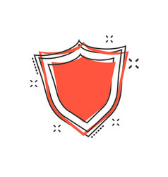 cartoon shield protection icon in comic style vector image