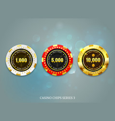 Casino coins chips set on bokeh background vector