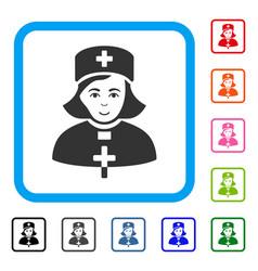 Church female doctor framed positive icon vector