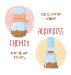 Coffee brewing methods chemex and aeropress vector