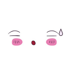 Colorful facial expression asleep kawaii vector