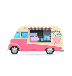 Cotton candy food truck isolated van vector