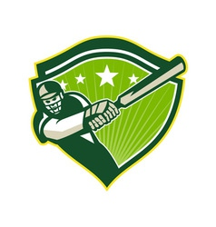 Cricket Player Batsman Star Crest Retro vector