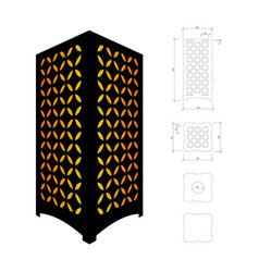 Cut out template for lamp vector