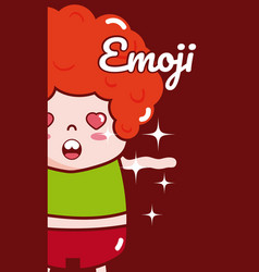 cute boy emoji cartoon vector image