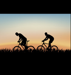 cyclists on grass vector image
