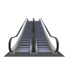 Double realistic escalator isolated on the vector
