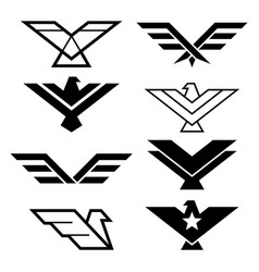 eagle geometric design wings icons vector image