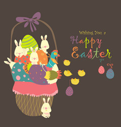 Easter basket with eggsrabbits and chicken vector