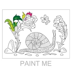 entangle stylized cartoon snail crawling among vector image