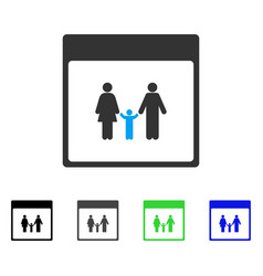 Family calendar page flat icon vector